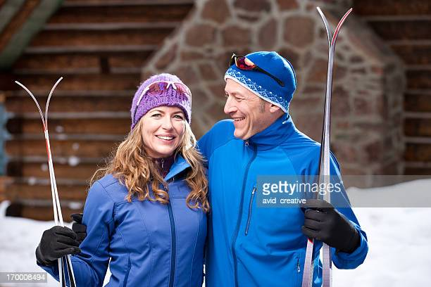 nordic skiing vacation couple - nordic skiing event stock pictures, royalty-free photos & images