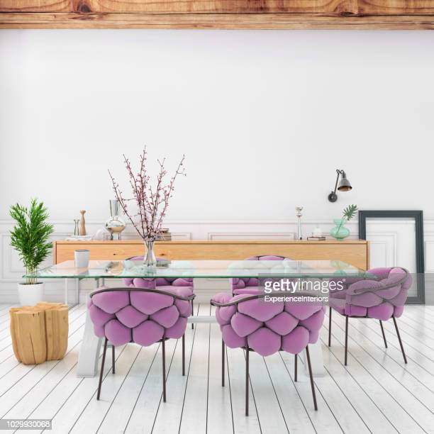 nordic style apartment dining room - dining room stock pictures, royalty-free photos & images