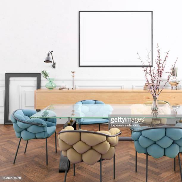 Nordic style apartment dining room with picture frame template