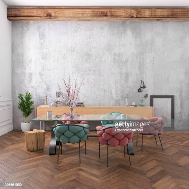 ufficio in stile nordico con grande scrivania del team - decorazione festiva foto e immagini stock