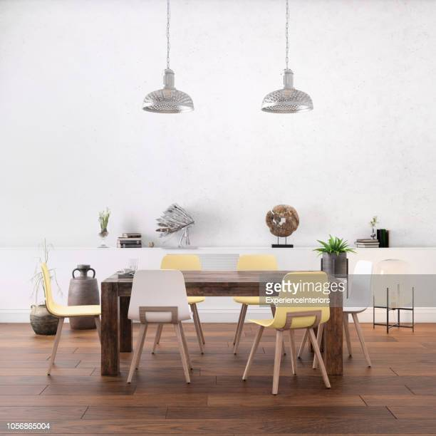 nordic style office with large team desk - dinner table stock photos and pictures