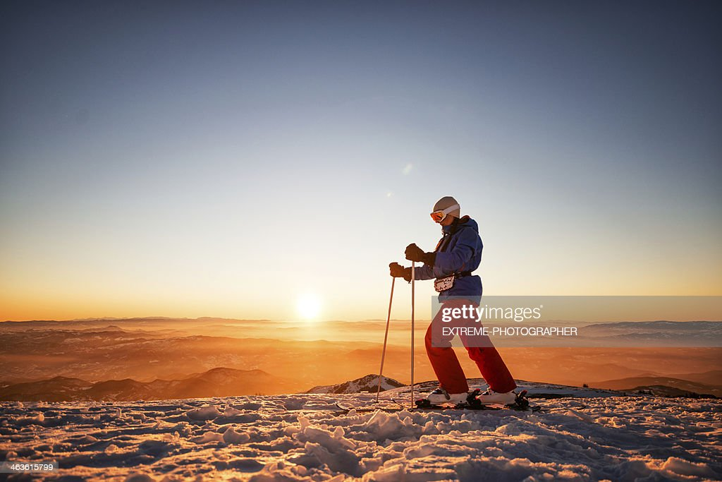 Nordic walking at sunset : Stock Photo