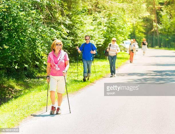 Nordic walking in park