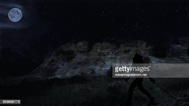 nordic walking night - edoardogobattoni stock pictures, royalty-free photos & images