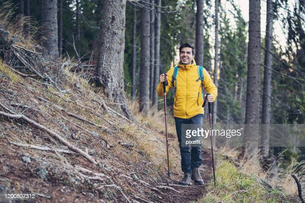 nordic walking on a footpath - hiking pole stock pictures, royalty-free photos & images