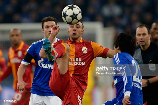 Nordin Amrabat of Galatasaray controls the ball during the UEFA Champions League round of 16 second leg match between Schalke 04 and Galatasaray AS...