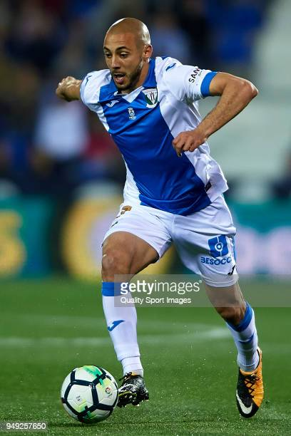 Nordin Amrabat of Leganes in action during the La Liga match between Leganes and Deportivo La Coruna at Estadio Municipal de Butarque on April 20...