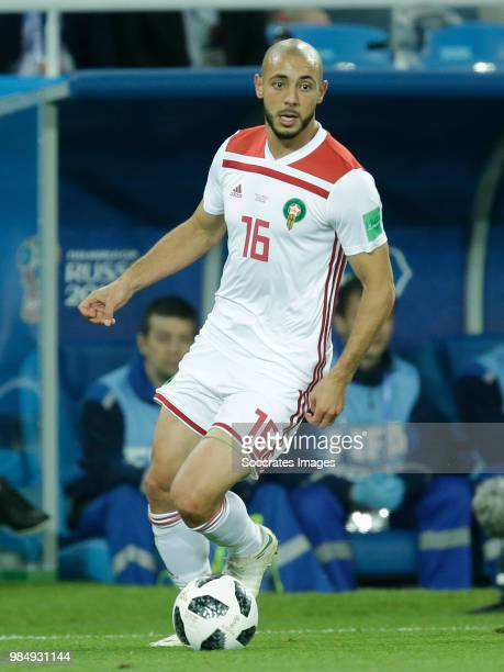 Nordin Amrabat of Morocco during the World Cup match between Spain v Morocco at the Kaliningrad Stadium on June 25 2018 in Kaliningrad Russia