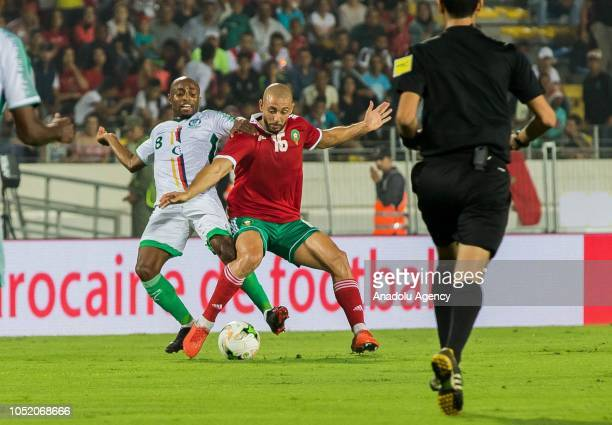 Nordin Amrabat of Morocco in action against Fouad Bachirou of Comoros during the 2019 Africa Cup of Nations Qualification match between Morocco and...