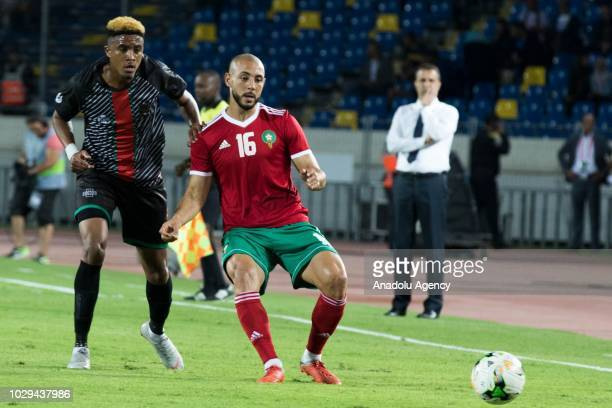 Nordin Amrabat of Morocco in action against Gerald Phiri Junior of Malawi during 2019 Africa Cup of Nations qualification Group B soccer match...