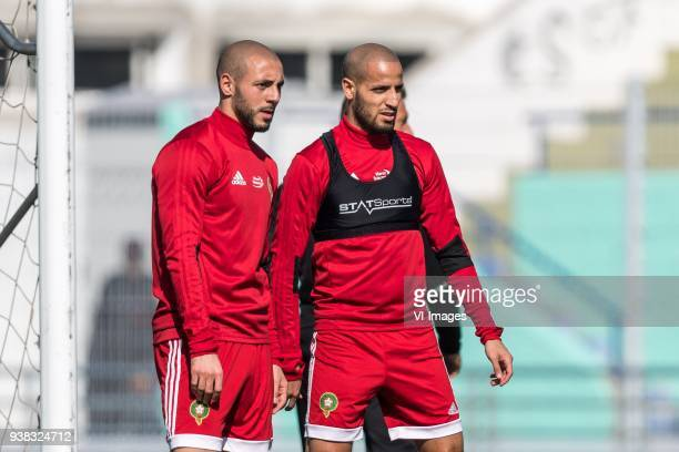 Nordin Amrabat of Morocco Karim El Ahmadi of Morocco during a training session prior to the International friendly match between Morocco and...