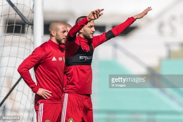 Nordin Amrabat of Morocco Karim El Ahmadi of Morocco Hakim Ziyech of Morocco during a training session prior to the International friendly match...