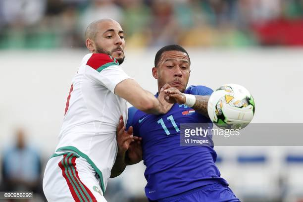 Nordin Amrabat of Morocco Memphis Depay of Hollandduring the friendly match between Morocco and The Netherlands at Grand Stade Adrar on May 31 2017...