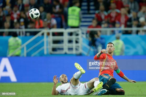 Nordin Amrabat of Morocco Sergio Ramos of Spain during the World Cup match between Spain v Morocco at the Kaliningrad Stadium on June 25 2018 in...
