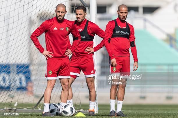 Nordin Amrabat of Morocco Sofyan Amrabat of Morocco Karim El Ahmadi of Morocco during a training session prior to the International friendly match...