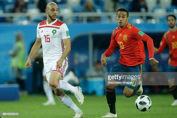 Nordin Amrabat of Morocco Thiago of Spain during the World Cup match between Spain v Morocco at the Kaliningrad Stadium on June 25 2018 in...