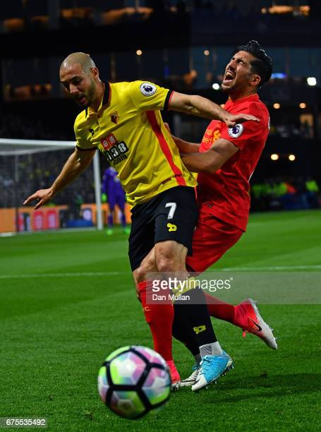 Nordin Amrabat of Watford and Emre Can of Liverpool battle for the ball during the Premier League match between Watford and Liverpool at Vicarage...
