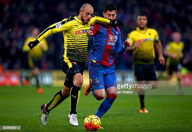 Nordin Amrabat of Watford and Joel Ward of Crystal Palace compete for the ball during the Barclays Premier League match between Crystal Palace and...