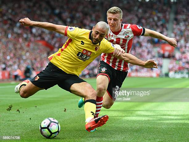 Nordin Amrabat of Watford and Matt Targett of Southampton in action during the Premier League match between Southampton and Watford at St Mary's...