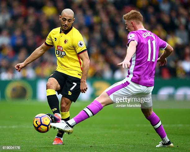 Nordin Amrabat of Watford and Sam Clucas of Hull City compete for the ball during the Premier League match between Watford and Hull City at Vicarage...