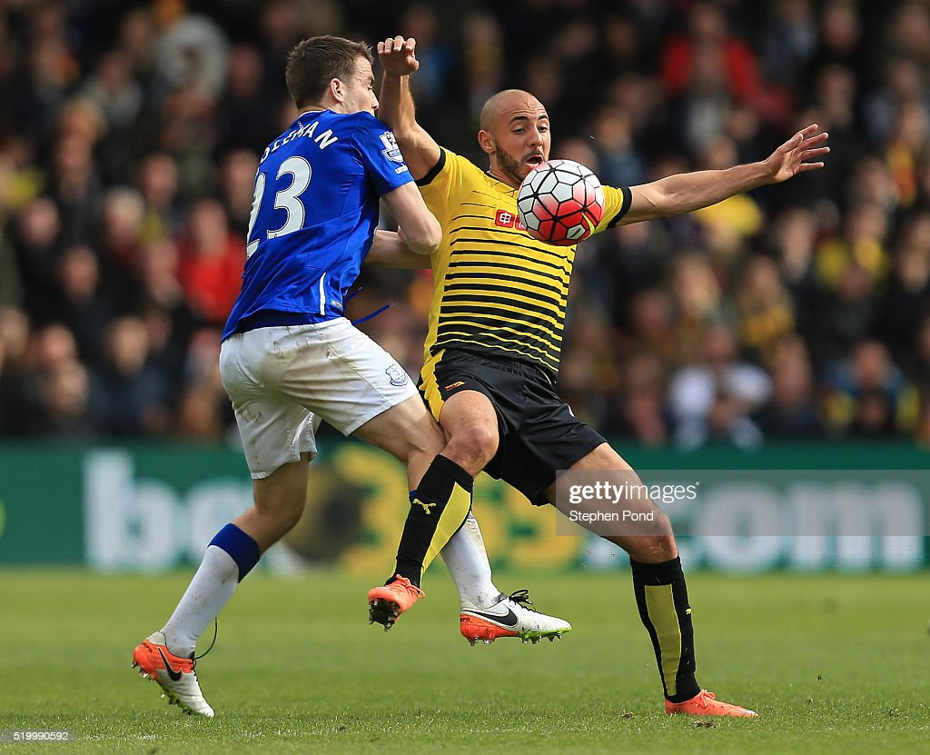 Nordin Amrabat of Watford and Seamus Coleman of Everton compete for the ball during the Barclays Premier League match between Watford and Everton at Vicarage Road on April 9, 2016 in Watford, England.