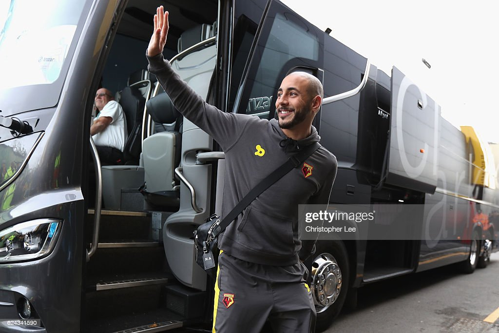 Nordin Amrabat of Watford arrives at the stadiium prior to kick off during the Premier League match between Watford and Leicester City at Vicarage Road on November 19, 2016 in Watford, England.