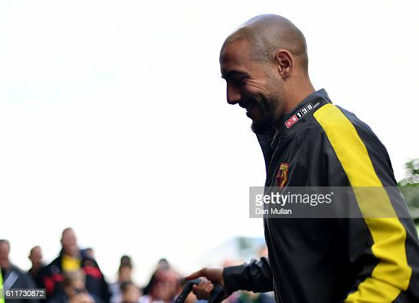 Nordin Amrabat of Watford arrives at the stadium during the Premier League match between Watford and AFC Bournemouth at Vicarage Road on October 1...