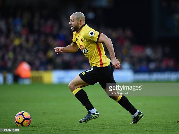 Nordin Amrabat of Watford during the Barclays Premier League match between Watford and Crystal Palace at Vicarage Road on December 26 2016 in Watford...