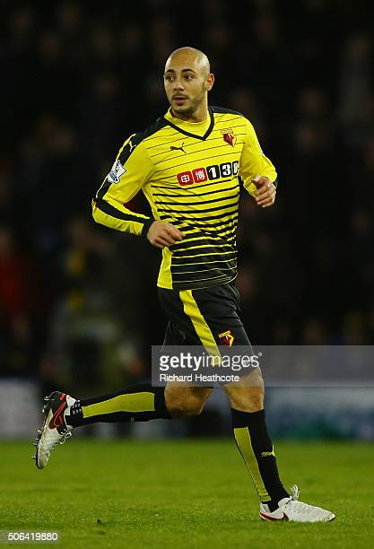 Nordin Amrabat of Watford in action during the Barclays Premier League match between Watford and Newcastle United at Vicarage Road on January 23 2016...