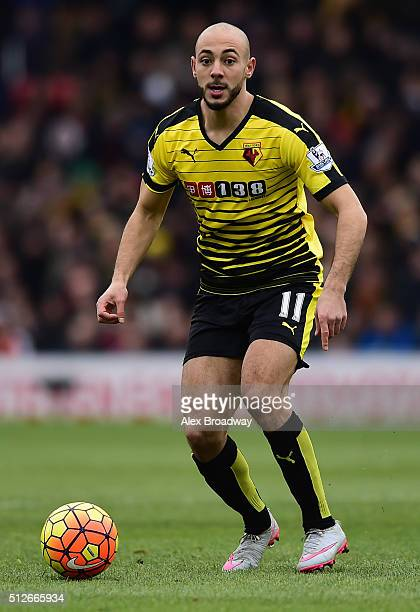 Nordin Amrabat of Watford in action during the Barclays Premier League match between Watford and AFC Bournemouth at Vicarage Road on February 27 2016...