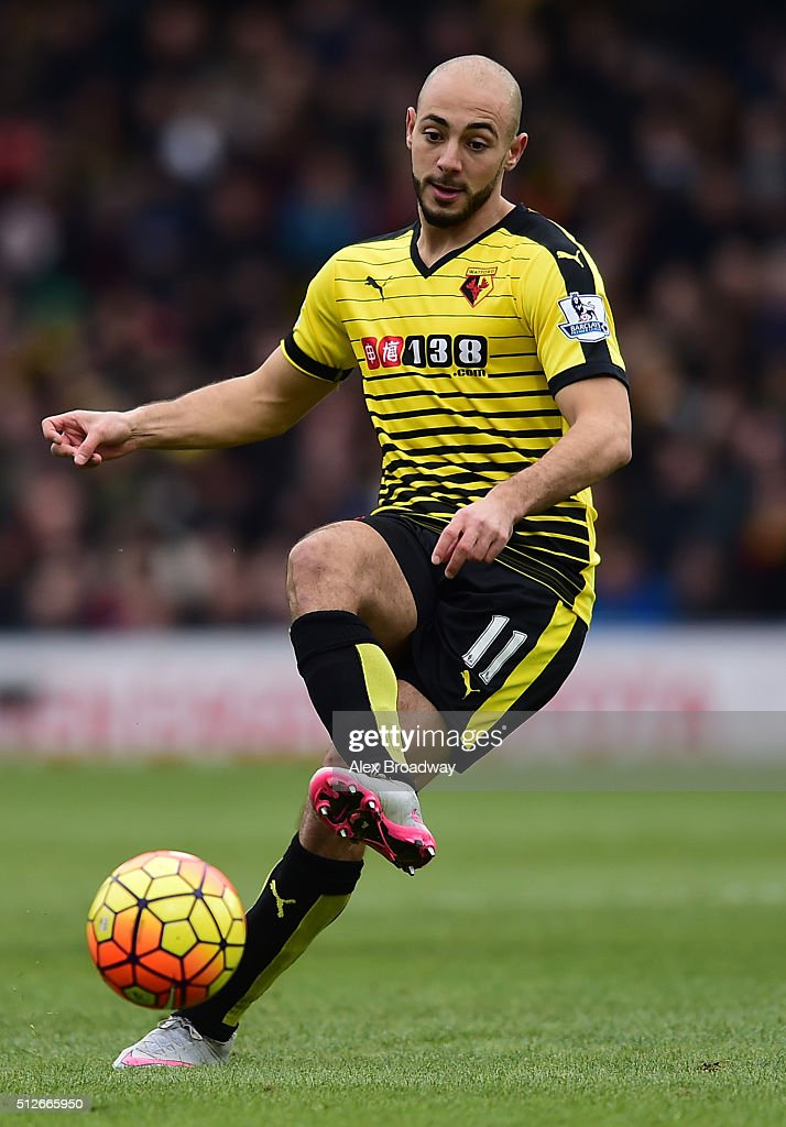 Nordin Amrabat of Watford in action during the Barclays Premier League match between Watford and A.F.C Bournemouth at Vicarage Road on February 27, 2016 in Watford, England.