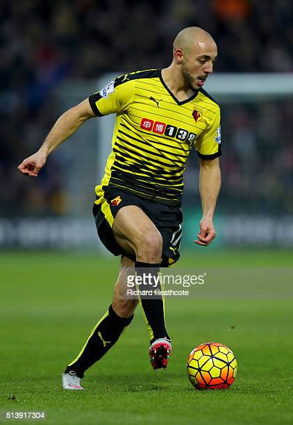 Nordin Amrabat of Watford in action during the Barclays Premier League match between Watford and Leicester City at Vicarage Road on March 5 2016 in...