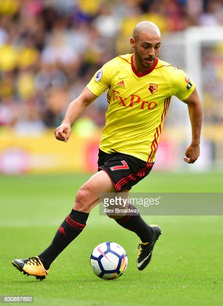 Nordin Amrabat of Watford in action during the during the Premier League match between Watford and Liverpool at Vicarage Road on August 12 2017 in...