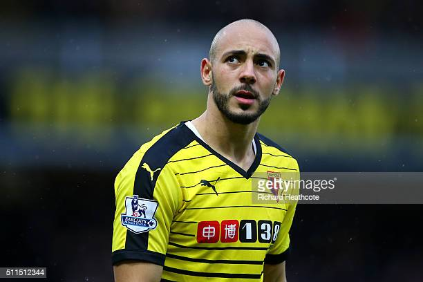 Nordin Amrabat of Watford in action during The Emirates FA Cup Fifth Round match between Watford and Leeds United at Vicarage Road on February 20...