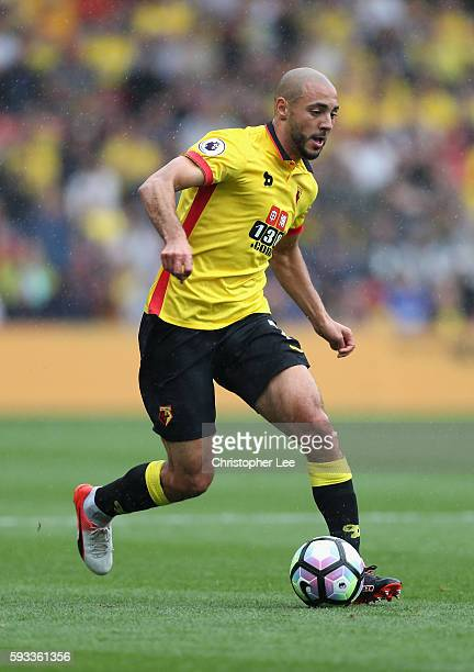 Nordin Amrabat of Watford in action during the Premier League match between Watford and Chelsea at Vicarage Road on August 20 2016 in Watford England