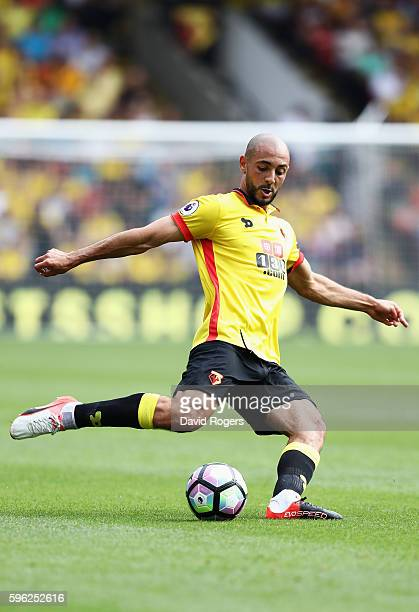 Nordin Amrabat of Watford in action during the Premier League match between Watford and Arsenal at Vicarage Road on August 27 2016 in Watford England