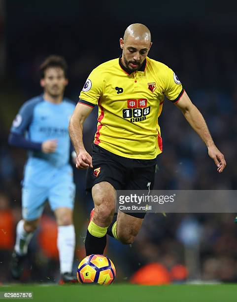 Nordin Amrabat of Watford in action during the Premier League match between Manchester City and Watford at Etihad Stadium on December 14 2016 in...