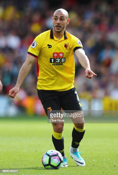 Nordin Amrabat of Watford in action during the Premier League match between Watford and Sunderland at Vicarage Road on April 1 2017 in Watford England