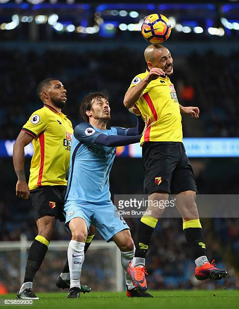 Nordin Amrabat of Watford in action with David Silva of Manchester City during the Premier League match between Manchester City and Watford at Etihad...