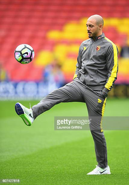 Nordin Amrabat of Watford kicks the ball while taking a look around the pitch during the Premier League match between Watford and Manchester United...
