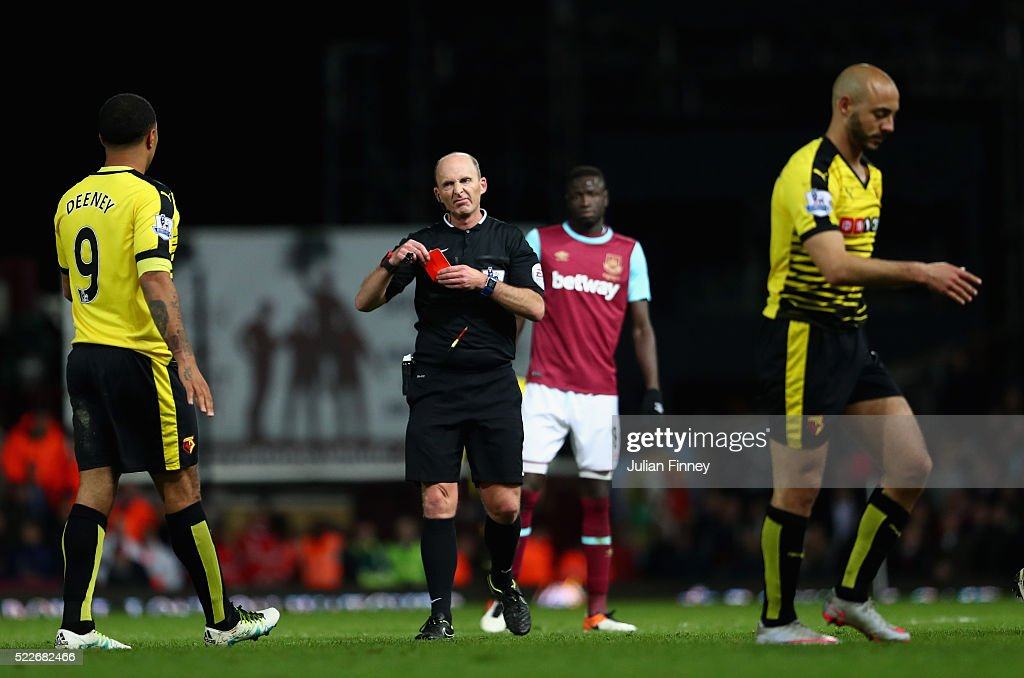 Nordin Amrabat of Watford recieves a red card during the Barclays Premier League match between West Ham United and Watford at the Boleyn Ground, April 20, 2016, London, England