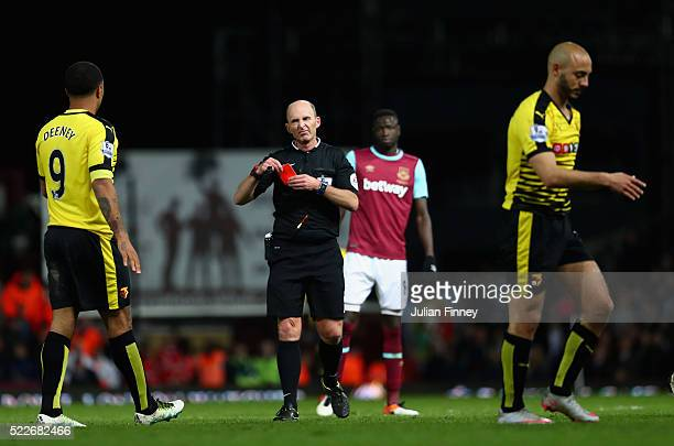 Nordin Amrabat of Watford recieves a red card during the Barclays Premier League match between West Ham United and Watford at the Boleyn Ground April...