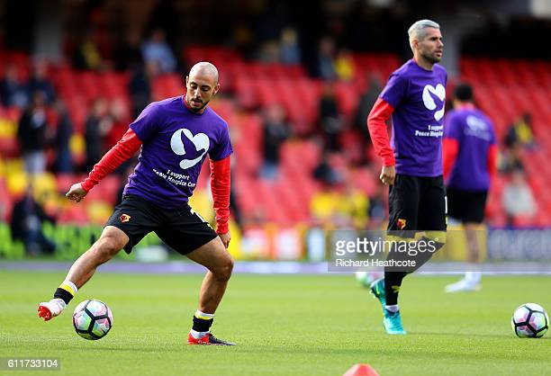 Nordin Amrabat of Watford warms up during the Premier League match between Watford and AFC Bournemouth at Vicarage Road on October 1 2016 in Watford...