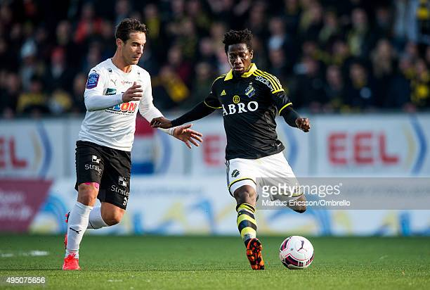 Nordin Gerzic of Orebro and Ebenezer Ofori of AIK in action during the match between Orebro SK and AIK at Behrn Arena on October 31 2015 in Orebro...