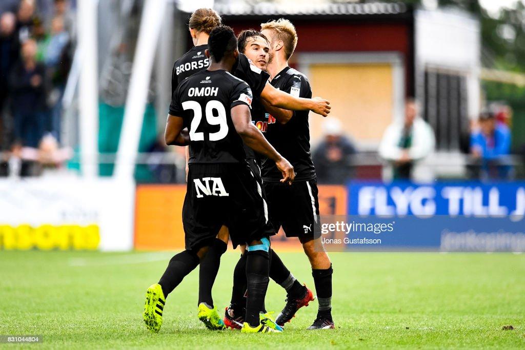 Nordin Gerzic of Orebro SK celebrates after scoring 1-1 during the Allsvenskan match between Jonkopings Sodra IF and Orebro SK at Stadsparksvallen on August 13, 2017 in Jonkoping, Sweden.
