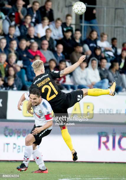 Nordin Gerzic of Orebro SK Sander Svendsen of Hammarby IF during the Allsvenskan match between Orebro SK and Hammarby IF at Behrn Arena on August 21...