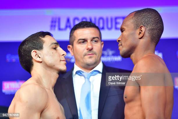 Nordine Oubaali of France French promoter Jerome Abiteboul and Luis Melendzez of Colombia during the press conference and weigh in on April 6 2018 in...