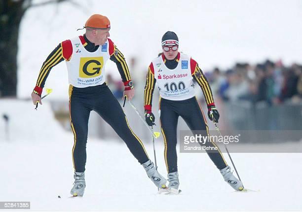 Nordische Ski WM 2003 in Baiersbronn; Verena BENTELE/GER mit ihrem Guide Franz LANKES Langlauf 5km Kurzstrecke