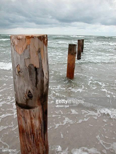 Nordsee, Schleswig-Holstein: Holzpfaehle im Meer