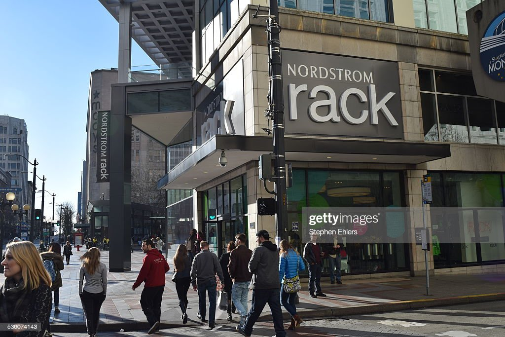 A Nordstrom Rack Sign And Front In The Busy Westlake Section Of Downtown Seattle Washington